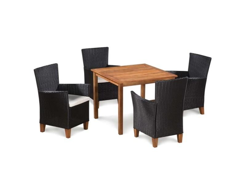 d pcs Vidaxl et bois 5 tressée mobilier d'extérieur résine N8nXZOk0wP