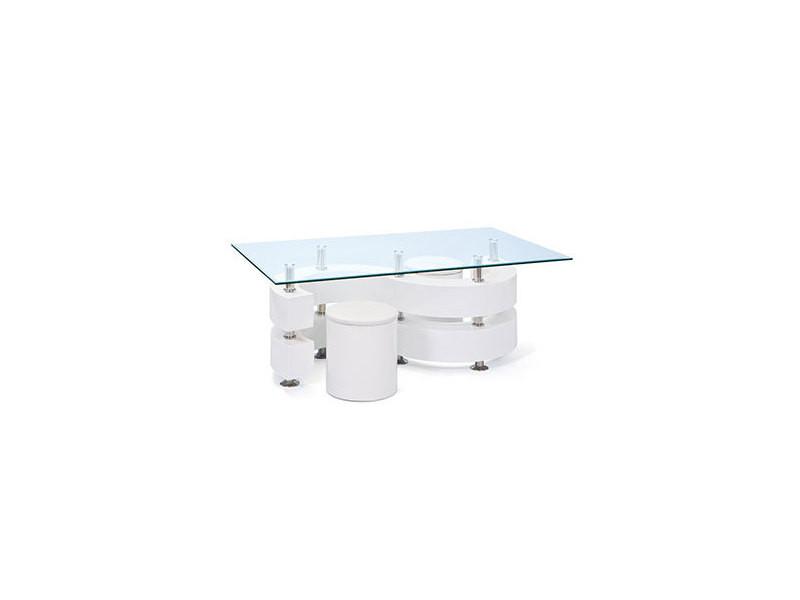 Table basse s avec 2 poufs laqué blanc - bright