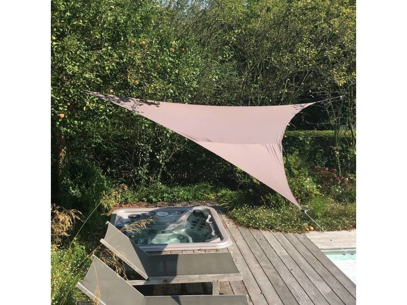 Voile d'ombrage triangulaire extensible easywind 4 x 4 x 5,7m - gris - anti uv upf 50+