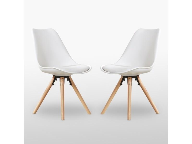Lot de 2 chaises scandinaves blanches sophie rembourrées