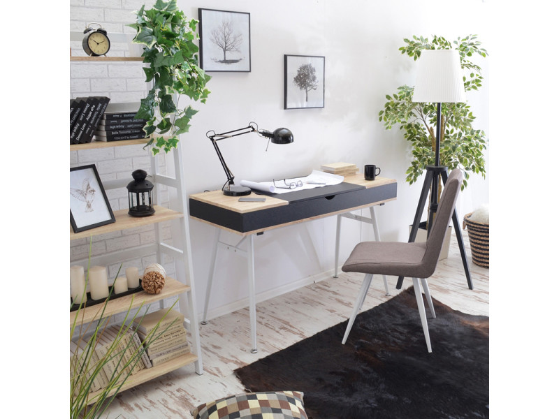 bureau scandinave bureau design visby 120 cm noir effet ch ne 3 compartiments ferm s. Black Bedroom Furniture Sets. Home Design Ideas