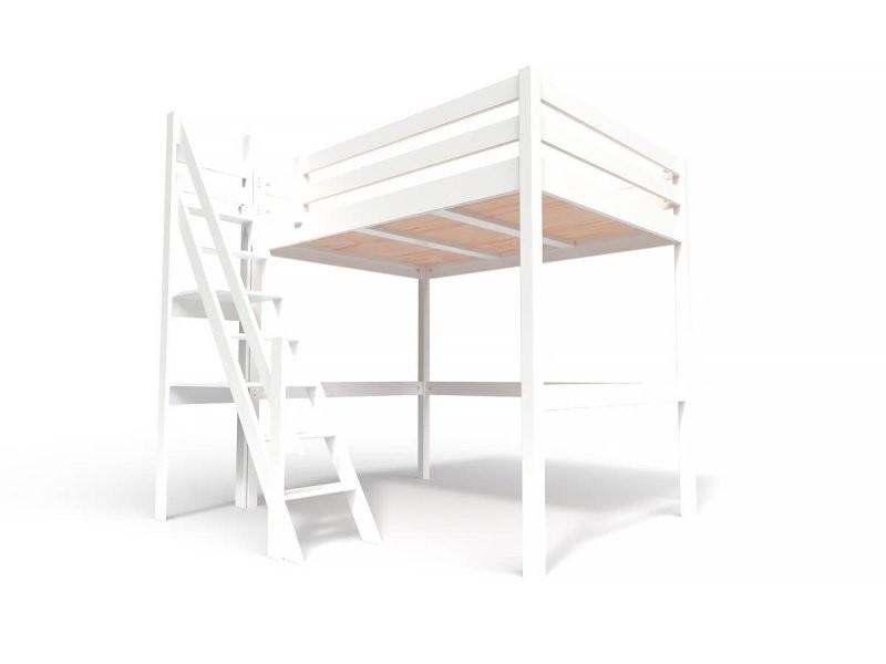 Lit mezzanine sylvia avec escalier de meunier bois 140x200 blanc 1140-LB