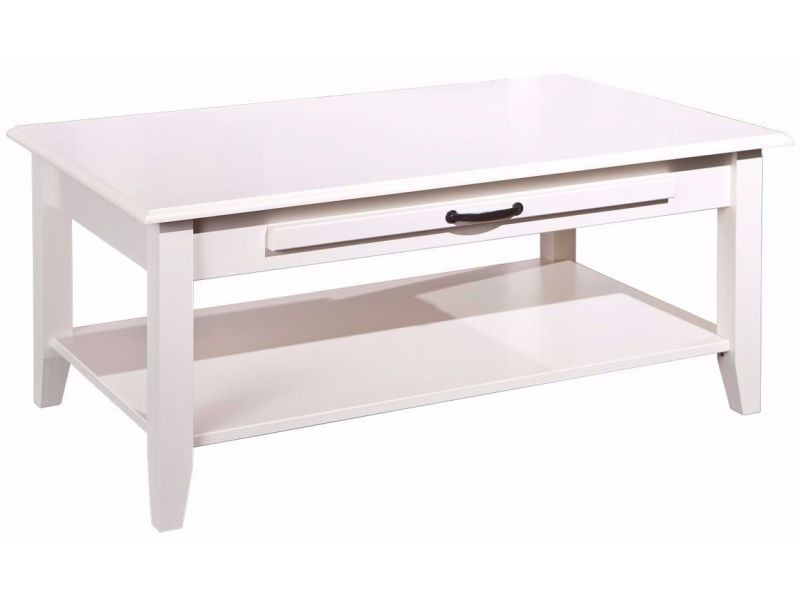 Table basse rectangulaire contemporaine 100 cm en pin massif avec tiroir coloris blanc vente - Table basse contemporaine ...