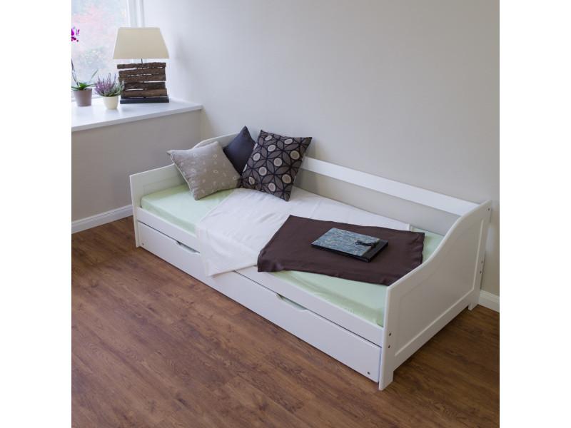 Superbe lit enfant 90 x 200 cm en bois blanc au design intemporel