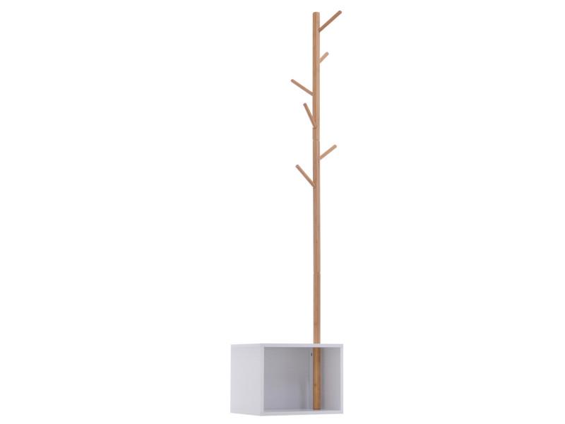 Meuble rangement porte-manteaux 2 en 1 design contemporain cosy dim. 40l x 30l x 180h cm mdf blanc bois massif bambou