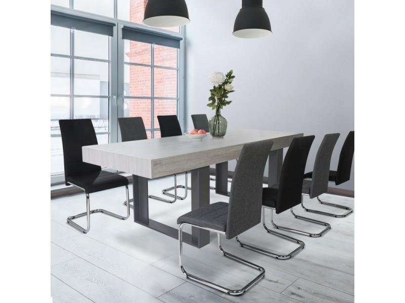 Table à manger phoenix 10 personnes bois gris 224 cm