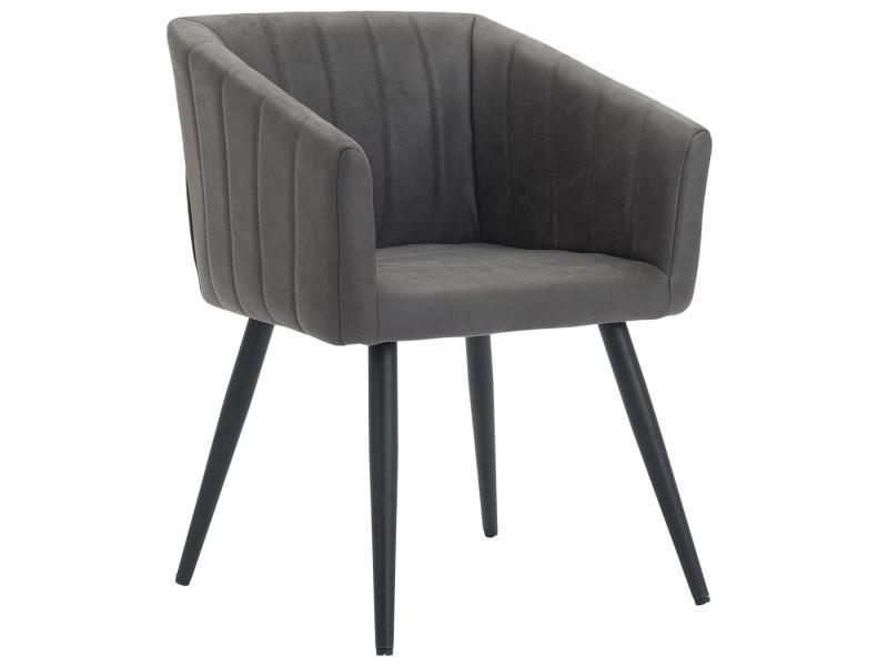 Duhome fauteuil salle à manger aspect en cuir gris foncé design retro avec pieds en métal 8065