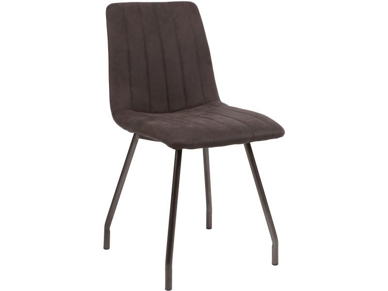de pu avec chaises 4 en piètement en Lot marron vintage OPk8n0w