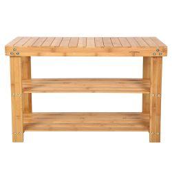 Étagère à chaussures, 100% bambou naturel, 2 niveaux, meuble rangement, siège pour chausser