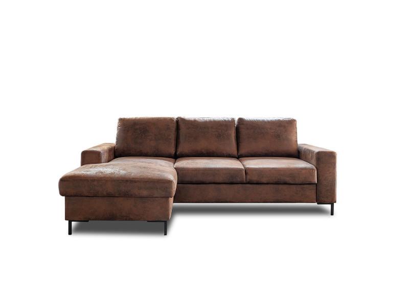 Bobochic lilly - canapé d'angle convertible - avec coffre - 4 places - industriel vintage - gauche couleur - marron