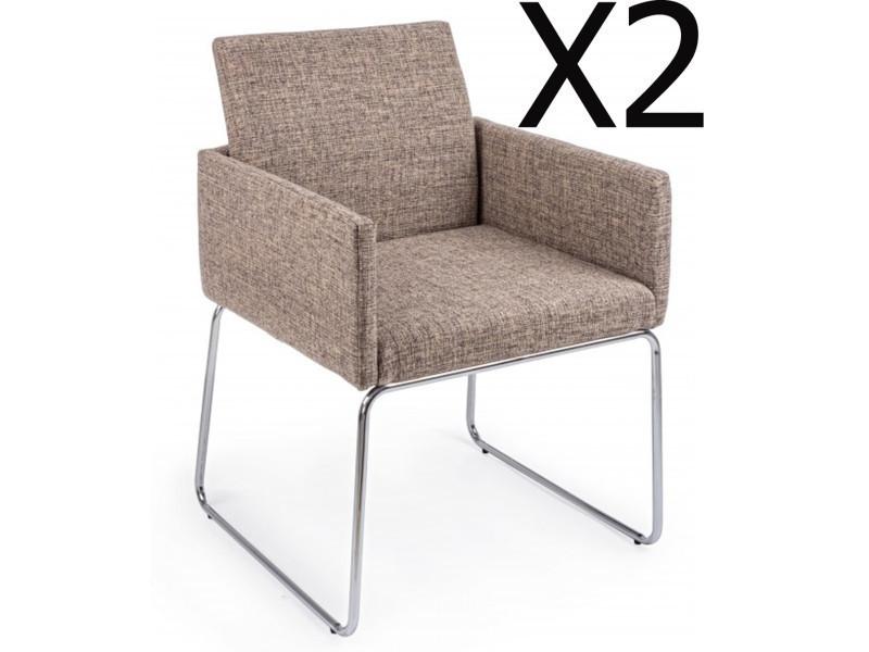 Lot de 2 fauteuils en fer et contreplaqué coloris beige - dim : l 60 x p 54 x h 80,5 cm -pegane-