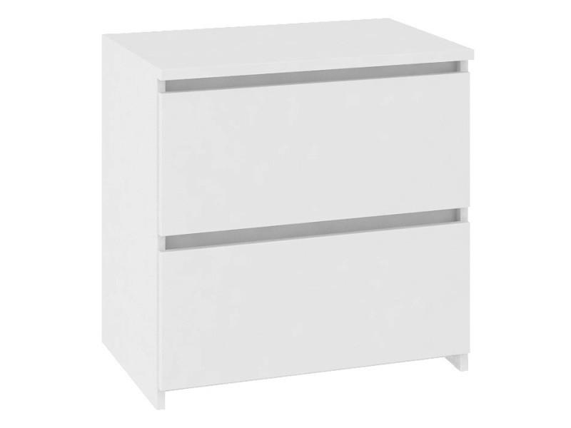 Shala - table de chevet contemporaine chambre 40x40x35 cm - 2 tiroirs larges + chants abs - chiffonier - design moderne - blanc
