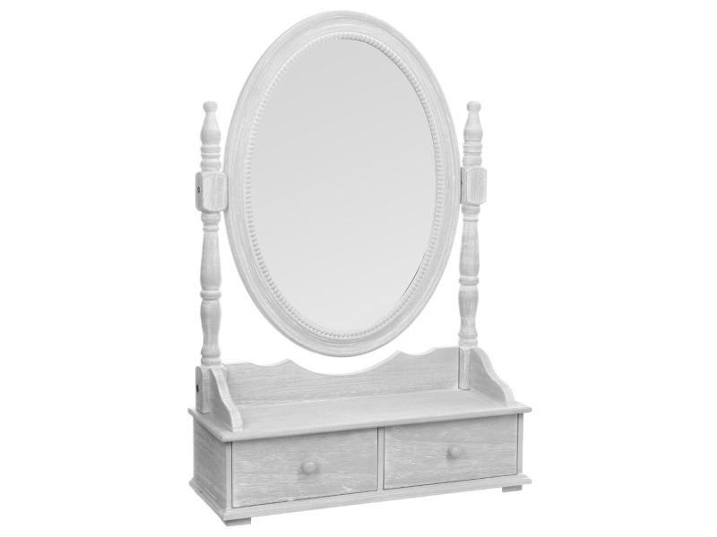 Miroir / range-bijoux en mdf de 2 tiroirs, gris - dim : l.50 ...