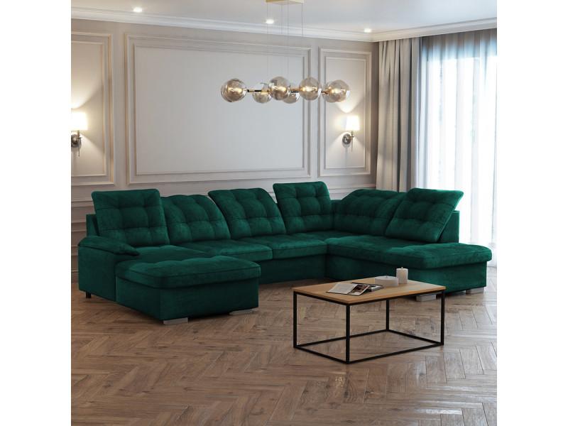 Canapé panoramique gauche - jamaal - tissu vert bouteille