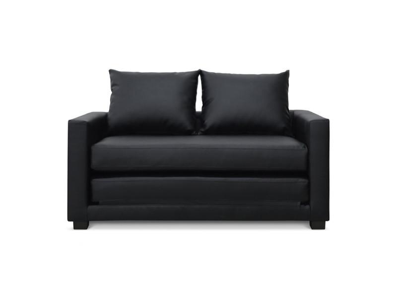 canap convertible 2 places noir pu lescott conforama. Black Bedroom Furniture Sets. Home Design Ideas