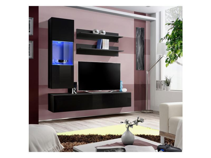 Ensemble meuble tv mural - fly iii - 160 cm x 170 cm x 40 cm - noir