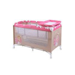 Lit parapluie bébé / lit pliant à 2 niveaux nanny 2 lorelli rose