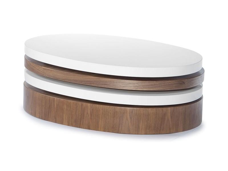 Table basse bois et laqué sidony - noyer/blanc - bois foncé