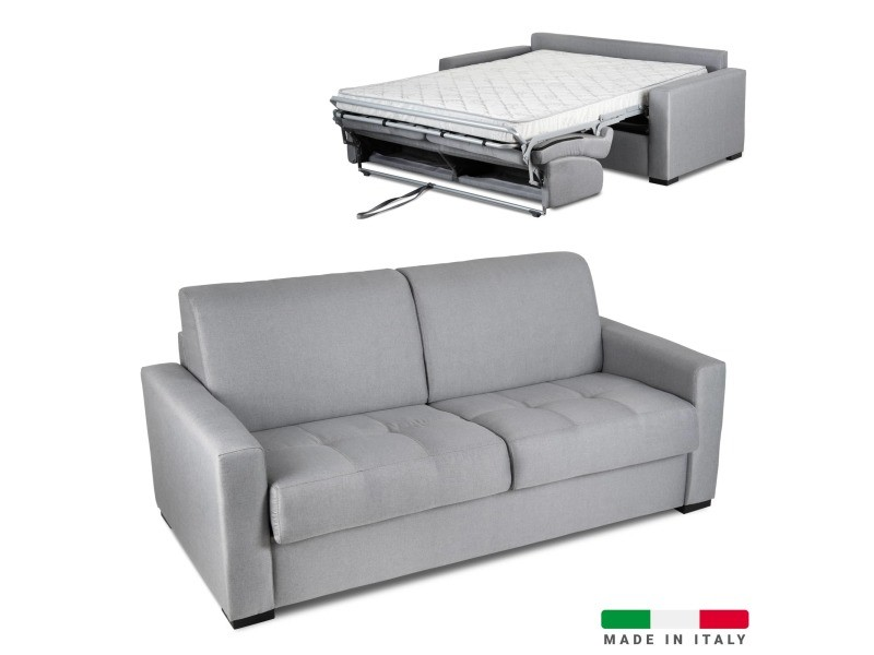 Canapé convertible 3 places louna en tissu gris ouverture express-