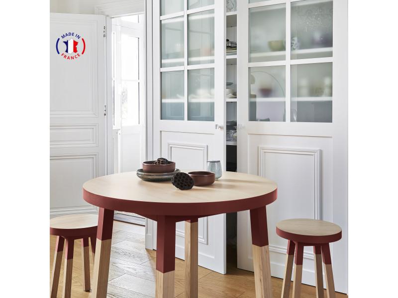 Table ronde 100% frêne massif 100x100 cm rouge de pluduno - 100% fabrication française