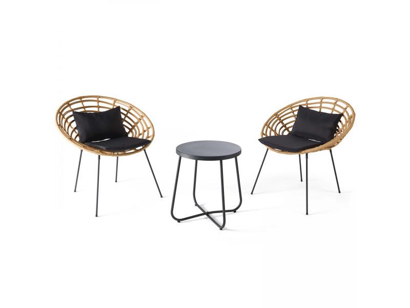 Salon de jardin 2 places en rotin synthétique, 2 fauteuils, 1 table basse, antalya 2 places résine tressée marron
