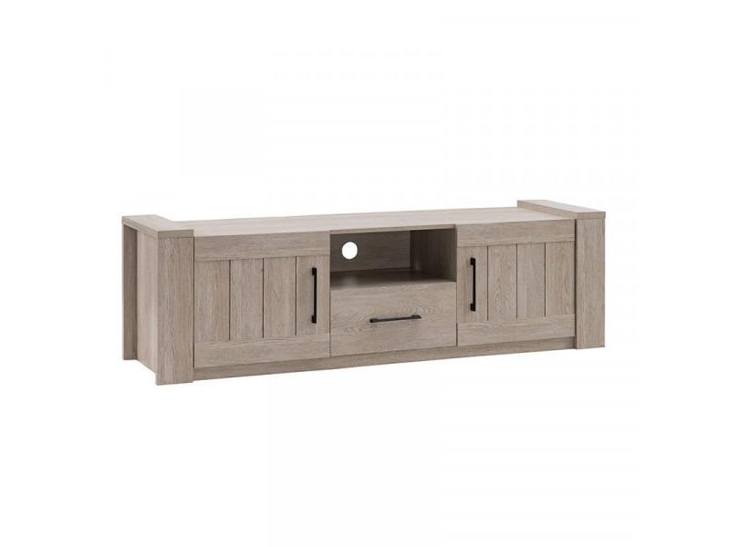 Meuble tv 1 tiroir 2 portes chêne - pyla - l 170 x l 44.5 x h 50 cm
