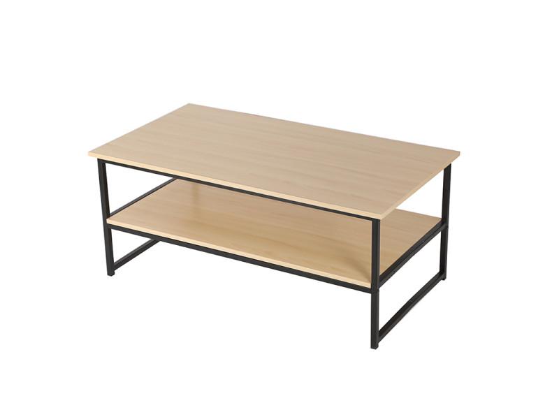 Table basse hombuy pour salon de style vintage et industriel couleur bois et noir