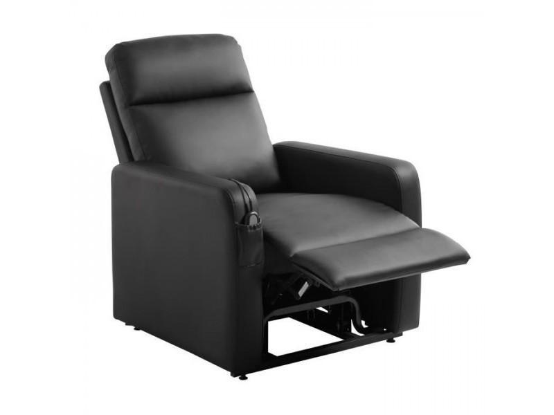 Relax fauteuil releveur de relaxation electrique - simili noir - classique - l 76 x p 88 cm