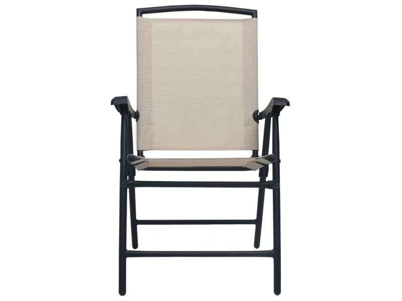 Vidaxl chaises de jardin pliables 2 pcs textilène crème 47924