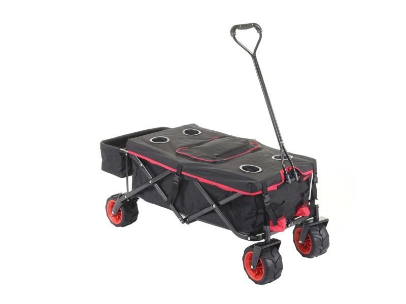 Chariot pliable hwc-e62, charette à bras, pneus tout terrain ~ avec recouvrement et sac réfrigérant noir/rouge