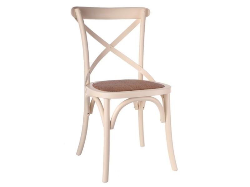 Lot de 2 chaises en orme crème et assise tressée irénée - l 46 x l 42 x h 87