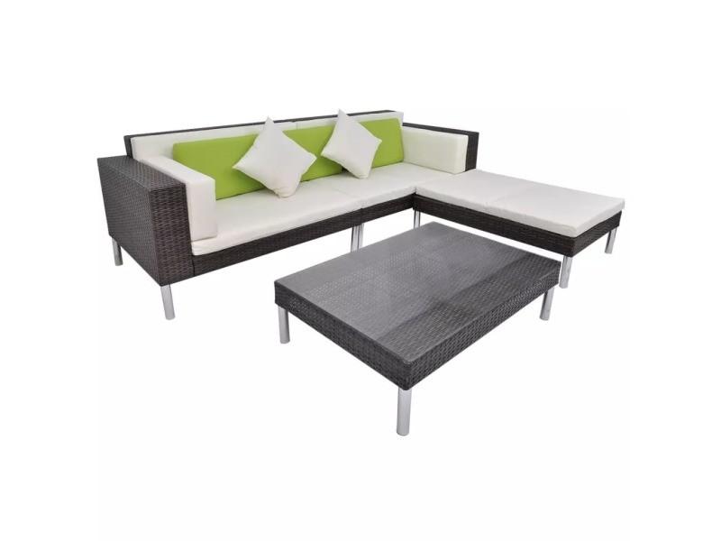 Icaverne - ensembles de meubles d'extérieur gamme jeu de canapé de jardin 17 pcs marron résine tressée