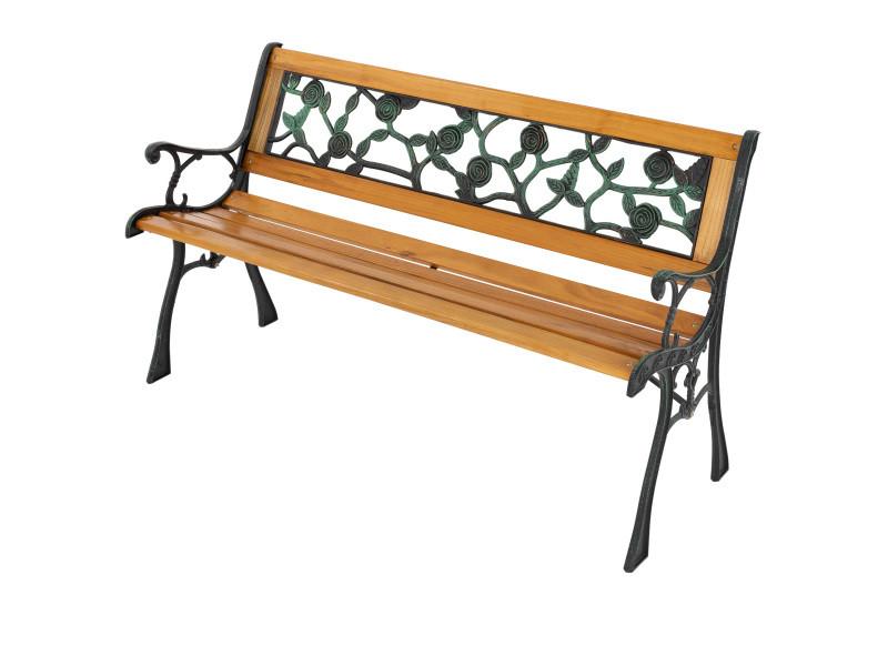 Ml-design banc de jardin 3 places en bois massif avec dossier et accoudoirs, 126x74x50 cm, banquette résistant aux intempéries, motifs des roses métal/fonte, meuble d'extérieur parc terrasse et balcon 490000334