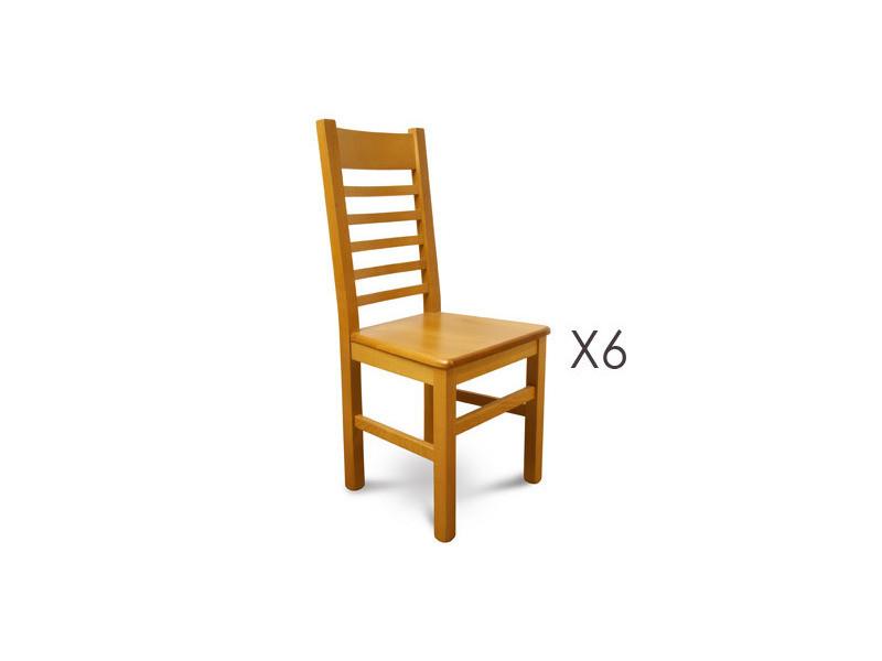 Lot de 6 chaises en bois massif teinte chêne clair assise