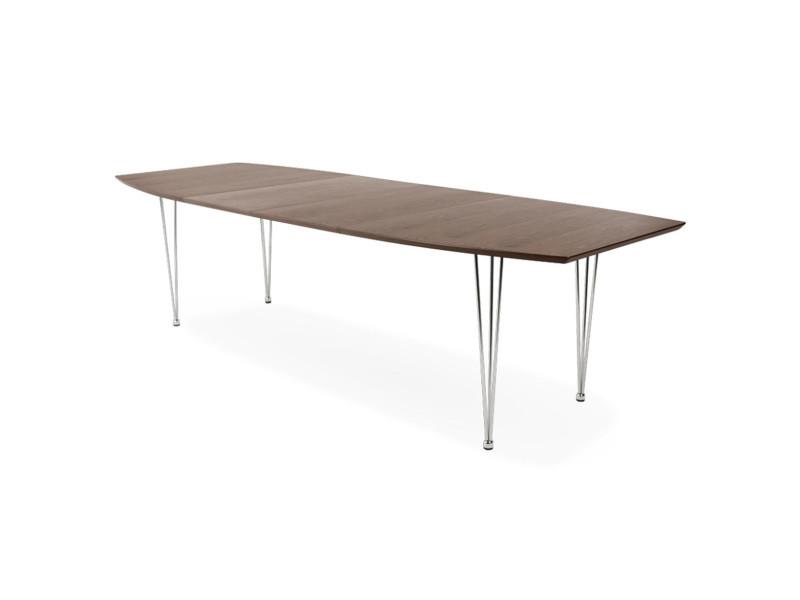 Table extensible coloris noyer - 100 x 73 x 170/270 cm -pegane-