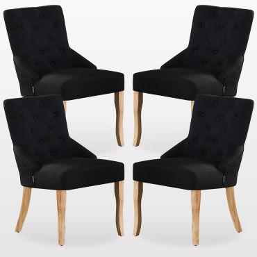 Kensington lot de 4 chaises capitonnées en tissu noir pieds en bois design & classique salle à manger, salon ou chambre E46398870