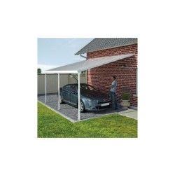 Toit de terrasse 400x800cm en alu blanc et polycarbonate 8mm patio