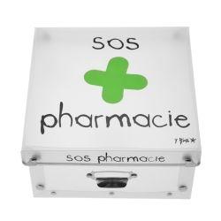 Boite de rangement déco en plastique petit modele - sos pharmacie