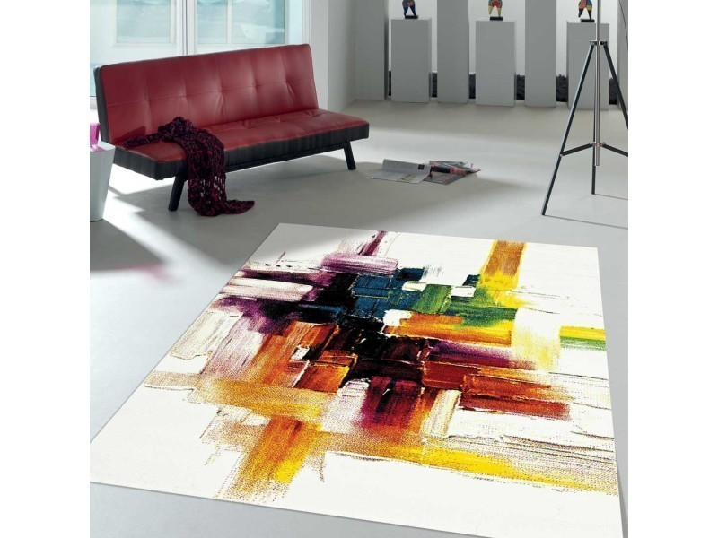 Tapis contemporain pour la chambre jolia 3 noir, creme, rouge, jaune, orange, vert 60 x 110 cm