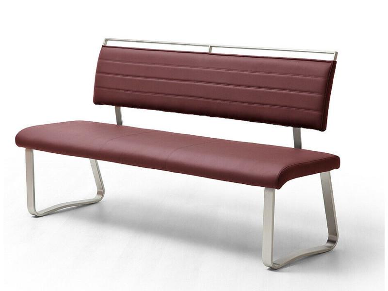 Banc de salle à manger en métal et simili cuir coloris bordeaux - longueur 175 x hauteur 93 x profondeur 59 cm -pegane-