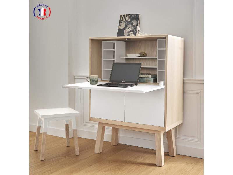 Bureau secrétaire avec rangement en frêne 90x46 cm blanc balisson - 100% fabrication française