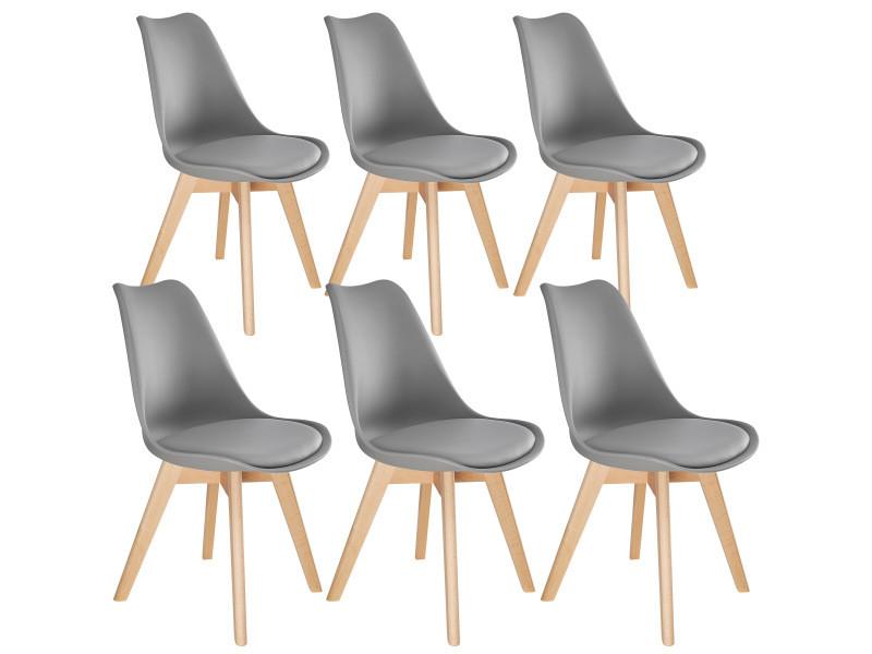 Tectake 6 chaises de salle à manger frédérique style scandinave pieds en bois massif design moderne - gris 403818