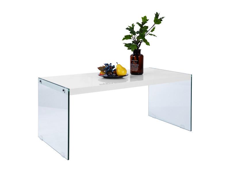 Table basse blanc laqué bois verre