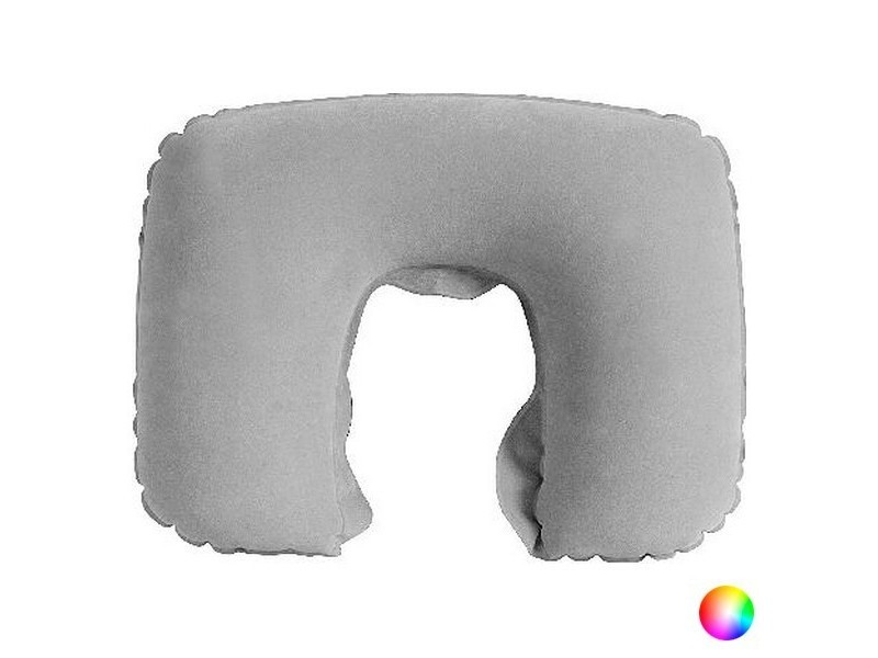 Coussin cervical coloré à gonfler - coussin de voyage couleur - gris
