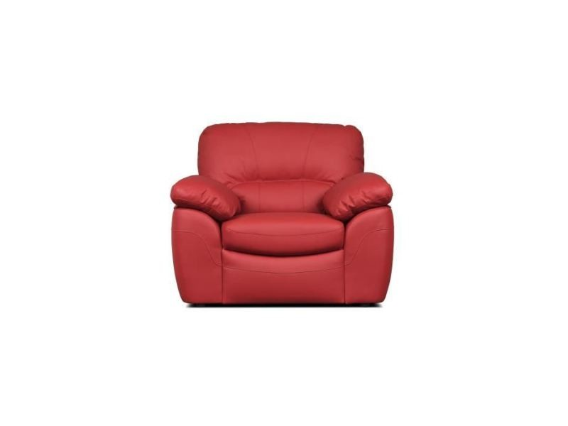 Fauteuil elvis fauteuil fixe - cuir de vachette et pu rouge - style contemporain - l 110 x p 97 cm