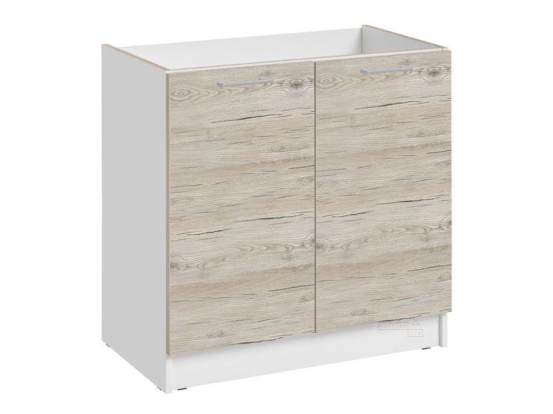 Meuble sous-évier cuisine - 2 portes, l 80 cm - noyer blanchi