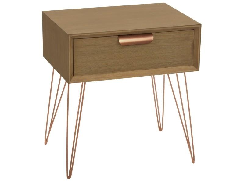 or et Table rose Vente chevet 1 bois métal tiroir de joraz D92IHEYW