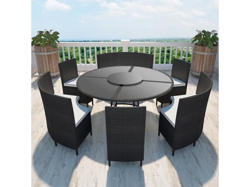 vidaxl salon de jardin noir en polyrotin table ronde et chaises 12 pers 41356 vente de vidaxl. Black Bedroom Furniture Sets. Home Design Ideas