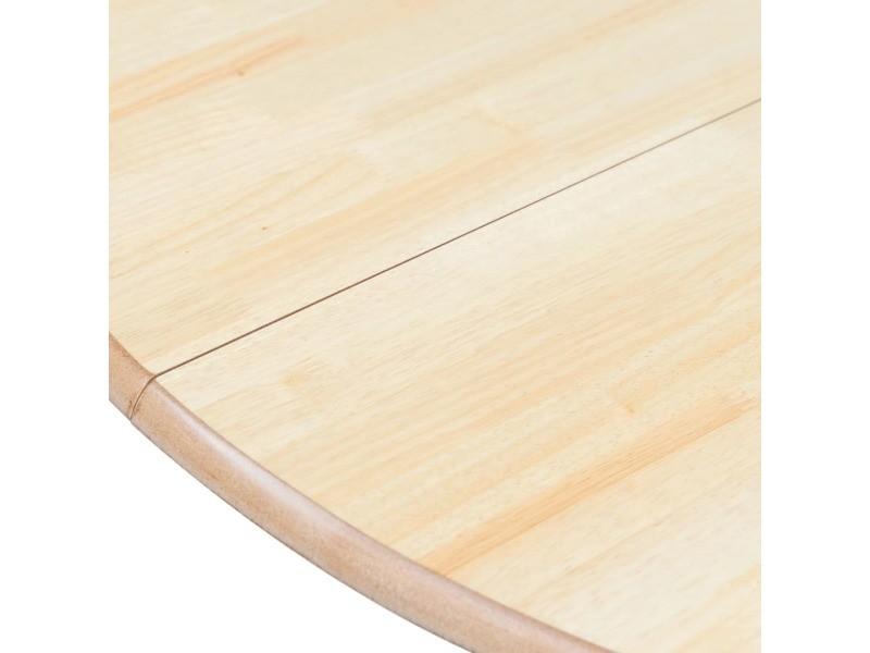 Vidaxl table à dîner gris et marron 106 cm bois d'hévéa massif 247355