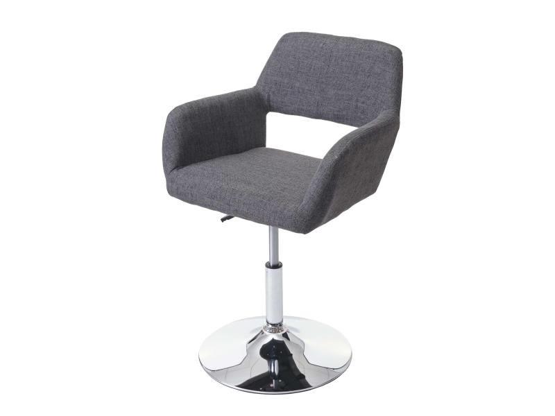 Chaise de salle à manger hwc-a50 iii, style rétro années 50, tissu ~ gris, pied en métal aspect chromé